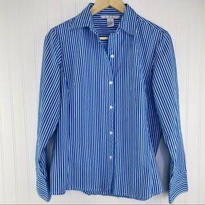 CAbi #369 Blue Striped Embroidered Button Down L